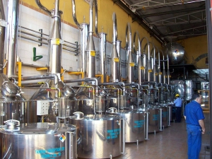 distillation at Casa Herradura, tequila processing plant