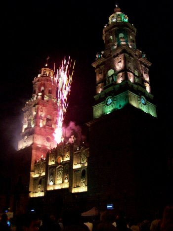 Catedral light and fireworks show, downtown Morelia, Michoacan