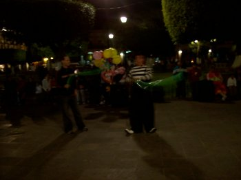 Clown show in downtown Morelia, Michoacan