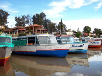 Patzcuaro dock with boats to Lake Patzcuaro islands, Michoacan