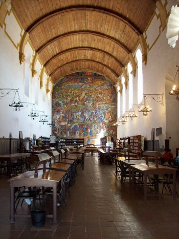 Patzcuaro library with mural, Michoacan