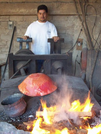 Copper workshop bellows at Santa Clara del Cobre, Michoacan
