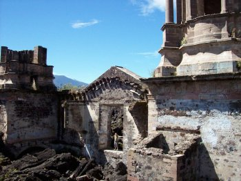 San Juan Parangaricutiro, the buried church  ruins near Paricutin volcano, Uruapan, Michoacan