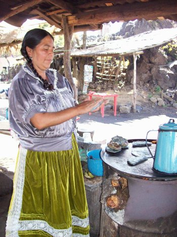 Quesadillas lady at San Juan Parangaricutiro, the buried church  ruins near Paricutin volcano, Uruapan, Michoacan