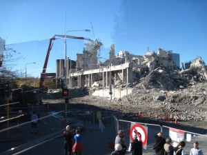 Buildings in downtown Christchurch damaged by earthquakes