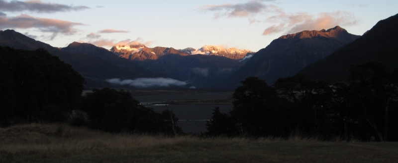 Crest of the Southern Alps as seen from Bealey Lodge