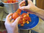 Peeling tomatoes after boiling water bath and cold water bath