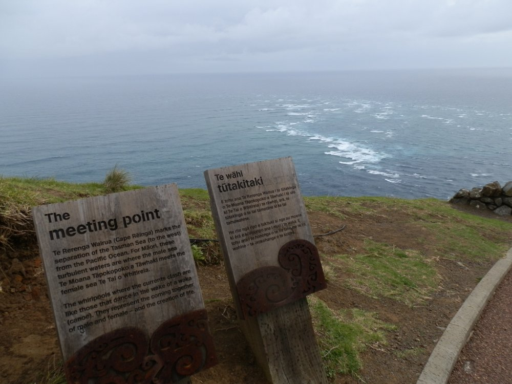 Meeting Place of Tasman Sea and Pacfici Ocean at Point Reinga, New Zealand