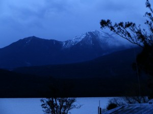 Lake Te Anau and Fiordlands Mountains in New Zealand