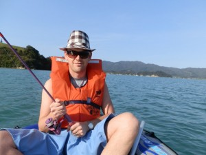 Andrew J. Wharton fishing in Coromandel Harbour