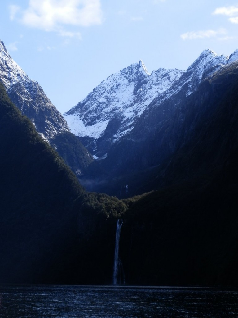 Waterfall in Milford Sound, New Zealand