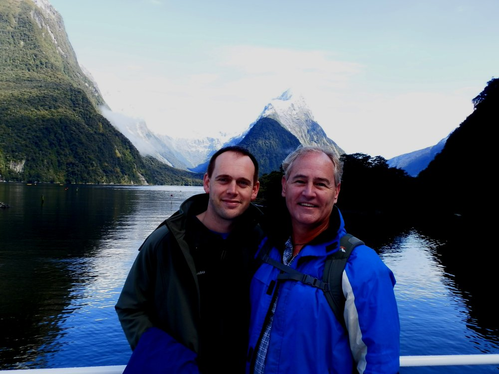Andrew J. Wharton and Dave Clingman at Milford Sound, New Zealand