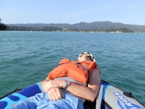 Andrew J. Wharton relaxing in Coromandel Harbour, New Zealand