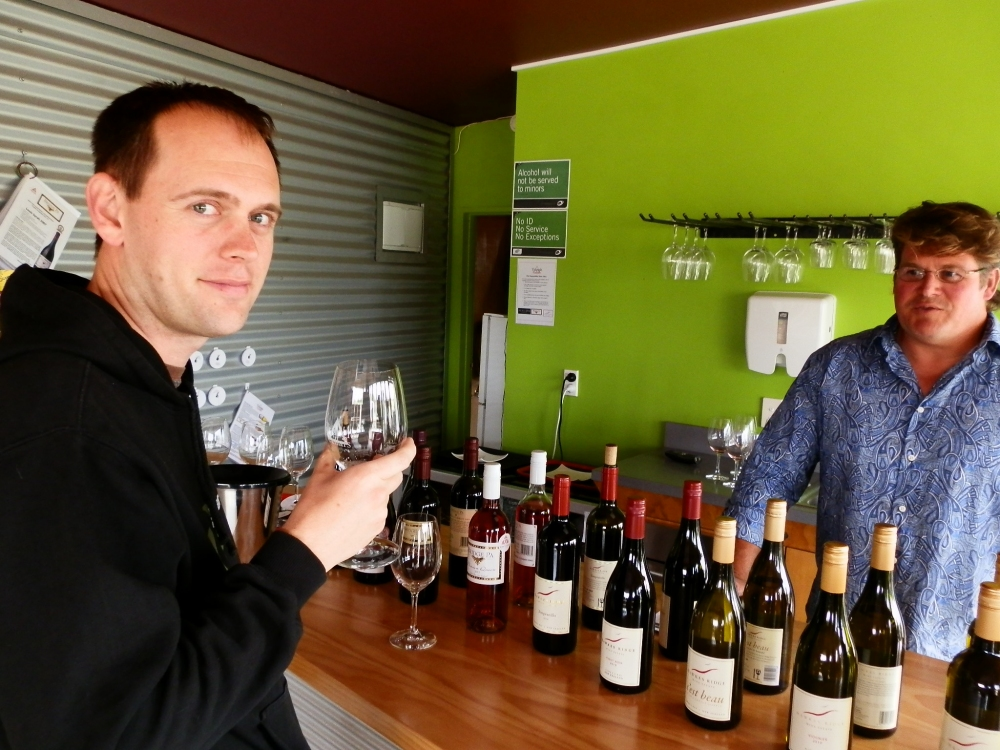 Andrew J. Wharton tasting wines at Hawkes Ridge Winery
