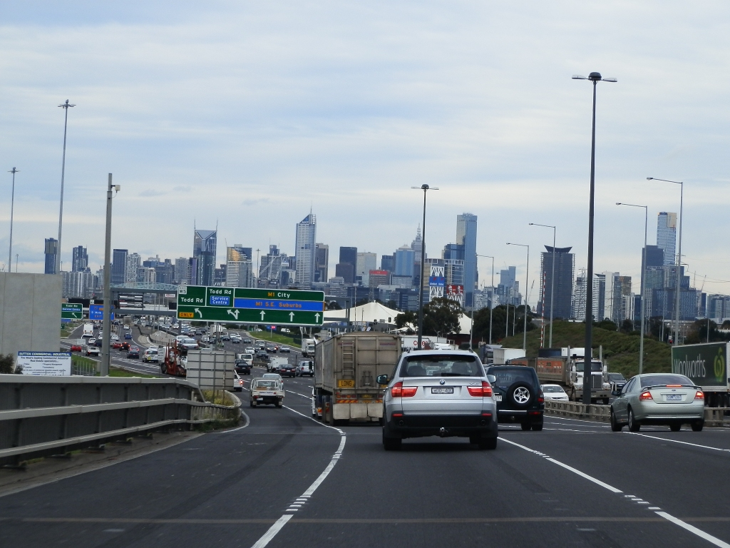 Entering Melbourne on Motorway