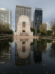 Sydney Australia's Anzac Memorial across Hyde Park's Reflection Pond