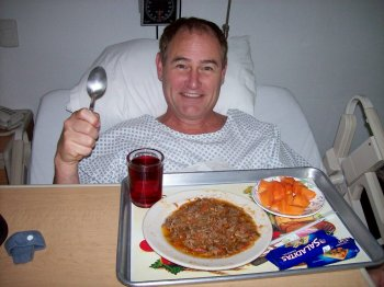 Dave Clingman enjoying his post-liposuction dinner at Clinica del Pilar, Guadalajara