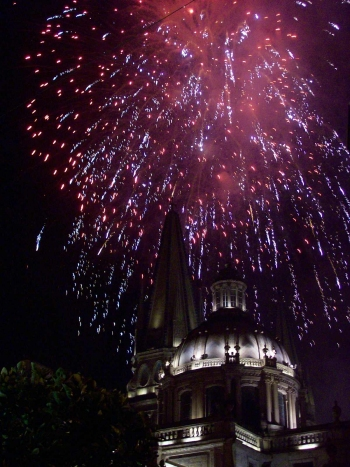 fireworks celebrate 16 de Septiembre over the Catedral in downtown Guadalajara, Jalisco, Mexico