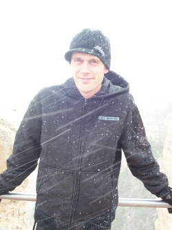 Andrew Wharton in snow storm at Grand Canyon