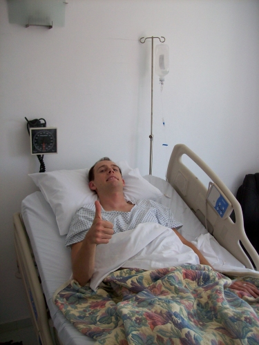 Andrew J. Wharton gives thumbs up after surgery in Guadalajara, Jalisco, Mexico